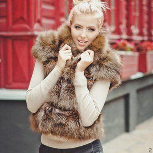 Brown Fur Vest winter coat sleeveless jacket women